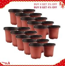 VICTMAX Hot Sale 50Pcs/set Dual Color Plastic Nursery Pots Flowerpot Planter Grow Seeding Pot Drop Ship - Brown + Black
