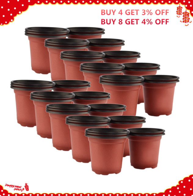 VICTMAX Hot Sale 50Pcs/set Dual Color Plastic Nursery Pots Flowerpot Planter Grow Seeding Pot Drop Ship – Brown + Black