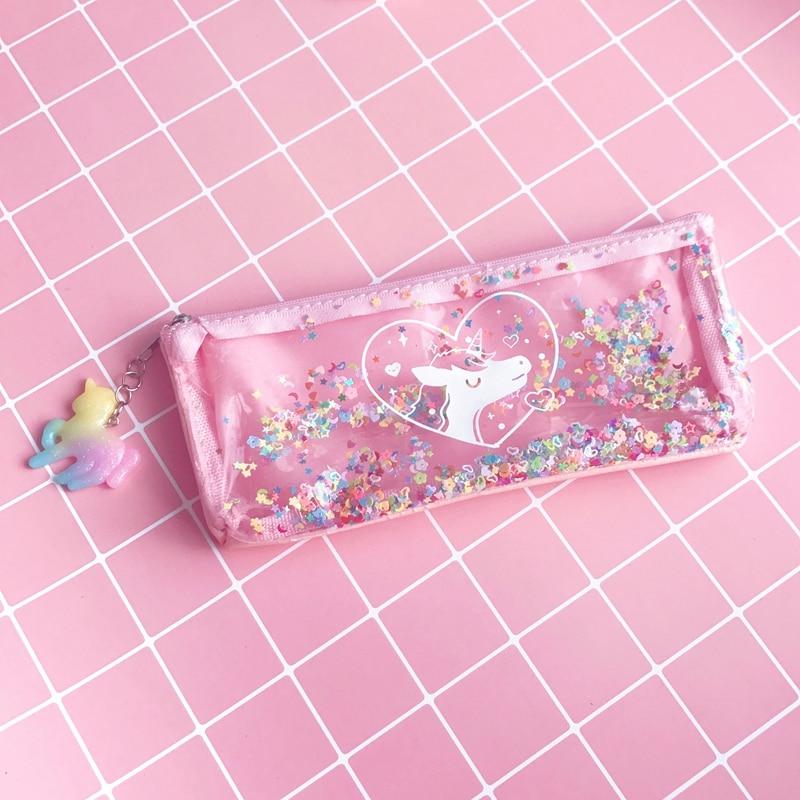 Unicorn Sequins Pencil Case  School Cute Transparent Zipper Pencil Box for Girl Kids Cosmetics Bag Kiss Buty Stationery Supplies