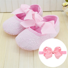 Soft Sole Girl Baby Shoes With Headband