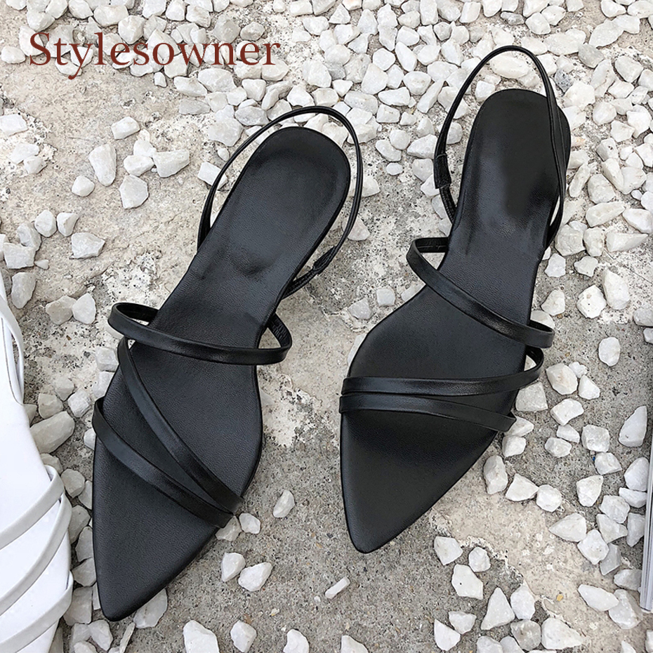 Stylesowner summer new pointed toe women shoe black white genuine leather all match sandals narrow band med heel sexy lady shoes 2017 new summer fashion women casual shoes genuine leather lady leisure sandals gladiator all match ankle peep toe flowers