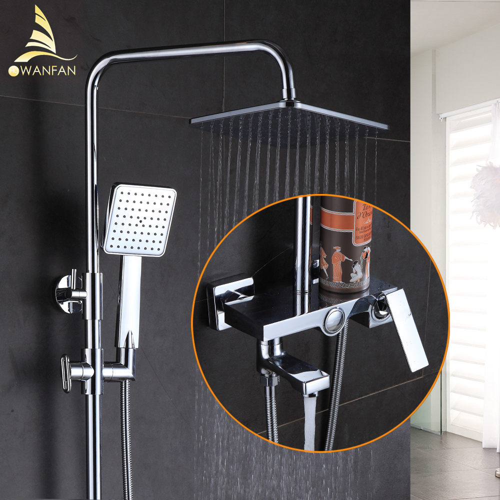 Shower Faucet Brass Chrome Wall Mounted Bathtub Faucet Rain Shower Head Square Handheld Slid Bar Bathroom Mixer Tap Set 877002