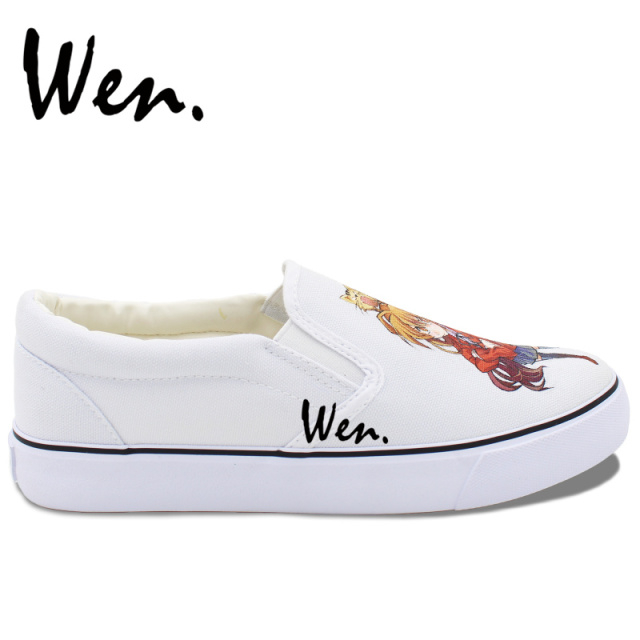 Wen Design Customized Hand Painted Casual Shoes Flat Anime Tiger Dragon White Slip on Canvas Sneakers Choose for Unisex Gifts