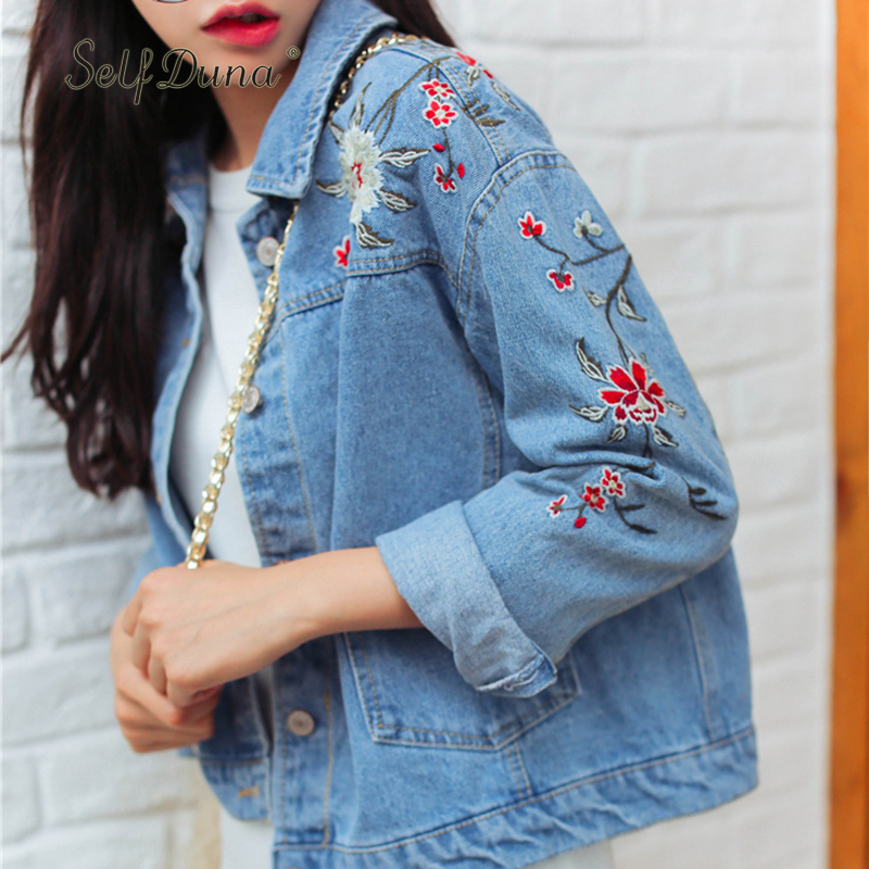 Self Duna 2019 Autumn Winter Women Floral Embroidery Denim   Jacket   Coat Casual Jeans   Jacket   Flower Embroidered   Basic     Jackets