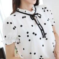 Puff Sleeve Polka Dot Printed Chiffon Blouse Summer Loose Short Sleeved Bottoming Shirt Retro Women Printing