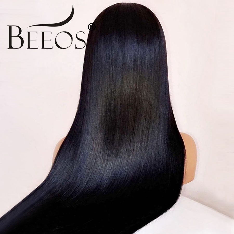 Beeos Straight Transparent HD Lace Brazilian Full Lace Human Hair Wigs Pre Plucked Natural Hairline Remy Bleached Knots