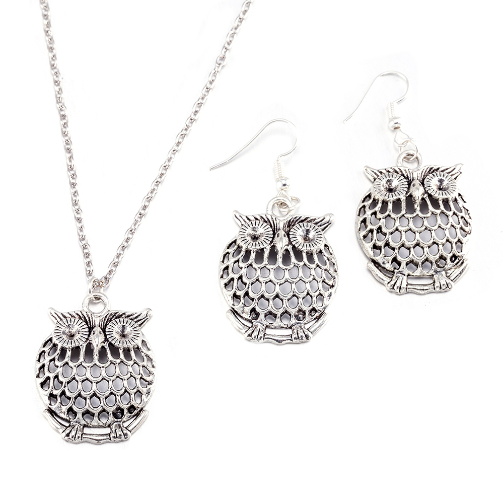 3 In 1 Rings Vintage Earring Necklace Indian Turkish Decoration Cute Owl Bridal Jewelry Sets for Women Drop shipping