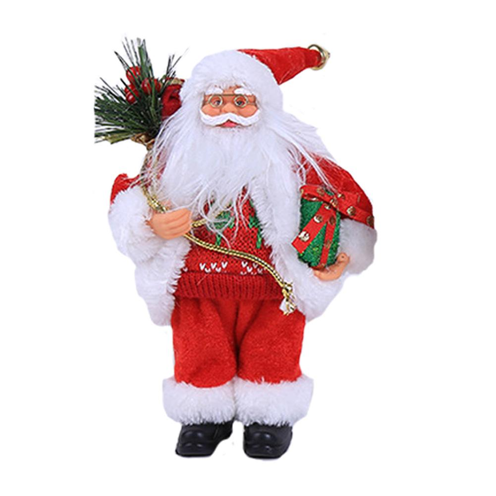 30cm Christmas Sitting Ornament Simulated Santa Claus Doll Old Man Mask Plush Figurine Toy Animated Doll Xmas Gift Decoration