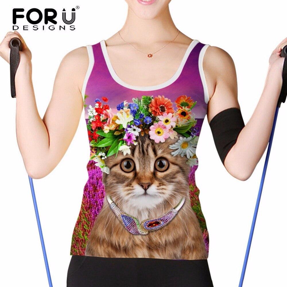 FORUDESIGNS Summer Fitness Tank Tops Women Cropped Top Cute 3D Cat Elastic Breathable Sleeveless Woman Regata