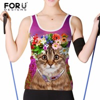 FORUDESIGNS Summer Fitness Tank Tops Women Cropped Top Cute 3D Cat Elastic Breathable Sleeveless Woman Regata