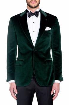 Custom Made One Button Dark Green Velvet Groom Tuxedos Peak Lapel Groomsmen Mens Wedding Suits Blazers (Jacket+Pants+Tie) W:539