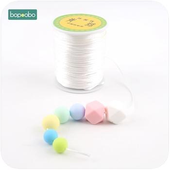 Bopoobo kolorowe 1mm 80 metrów Satin Silk Rope przewód nylonowy dla niemowląt gryzaki akcesoria ząbkowanie naszyjnik Rattail Cord narzędzie do majsterkowania tanie i dobre opinie Pojedyncze załadowany ROUND 10-12 miesięcy BPA za darmo