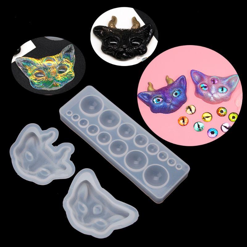 Купить с кэшбэком 1 SetCartoon Evil Cat Eye Silicone Resin Molds Kit Epoxy Resin Casting Jewelry Tools