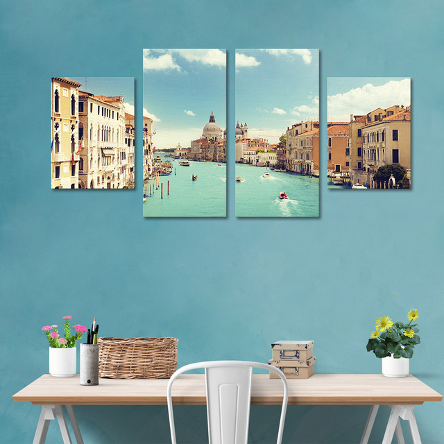 funlife cityscape wall poster diy living room bedroom decorative accessories 4 pcs brief wall paper frameless - Bedroom Decorative Accessories