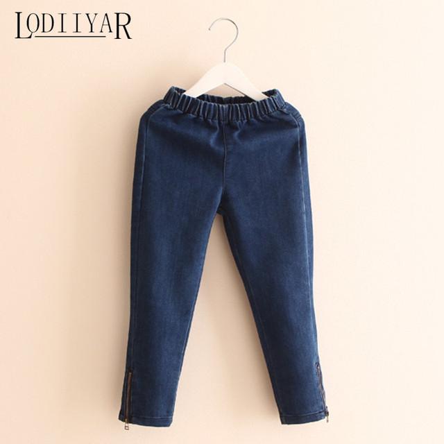 Crianças Jeans Skinny Para Meninas Da Criança Outono Inverno Lado Zipper Lápis Crianças Calças Do Bebê Calças Casuais Quentes, idade 3-7 T