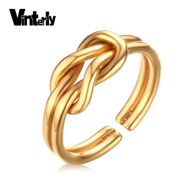 f16ae18a6a1b Anillos de amor de nudo infinito para siempre para mujeres de color dorado  compromiso de boda