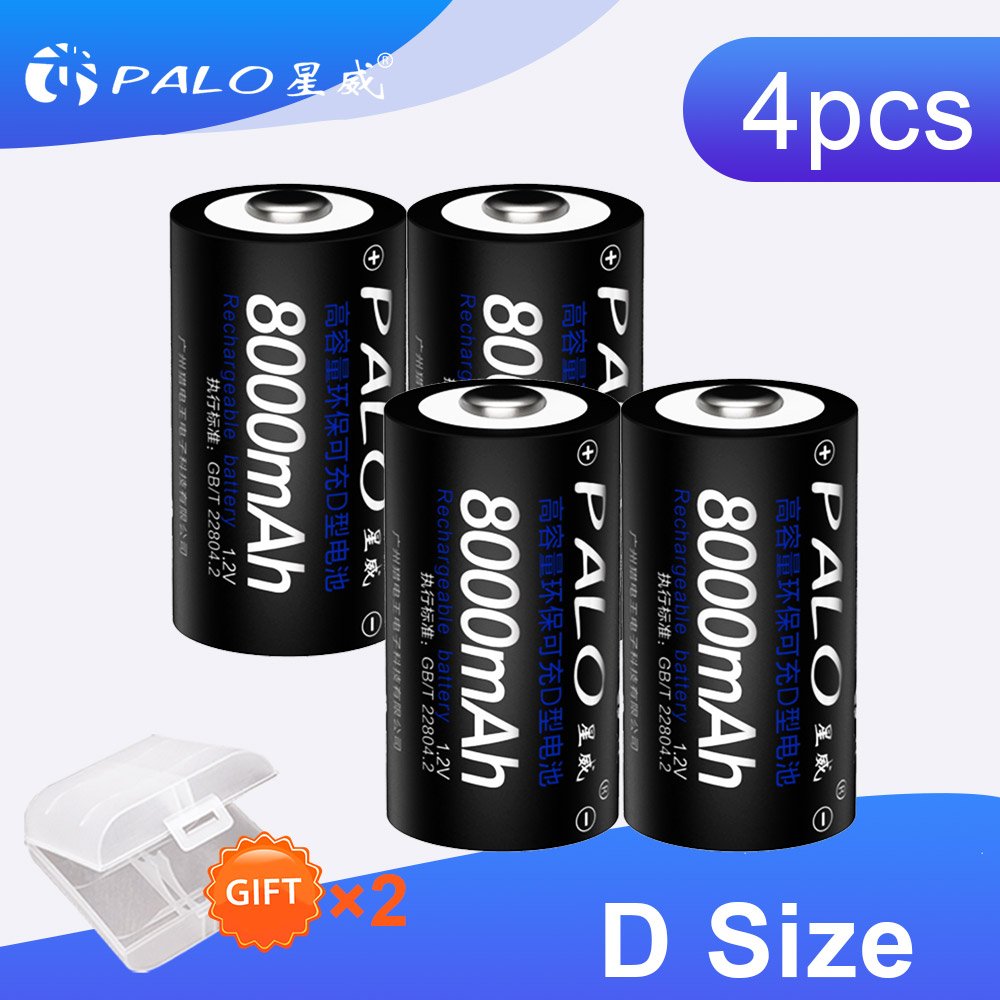 4Pcs 8000mAh 1.2v D Size Rechargeable Batteries For Flashlight Gas Cooker Radio Refrigerator With 2 Pcs Battery Box