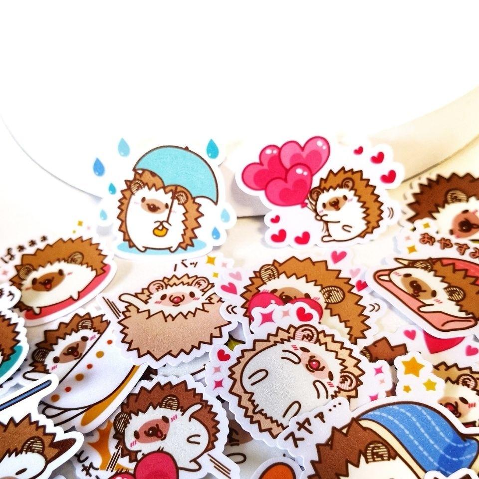 4packs/160pcs Cute Hedgehog Life Memo Stickers Pack Posted It Kawaii Planner Scrapbooking Stationery Escolar School Supplies