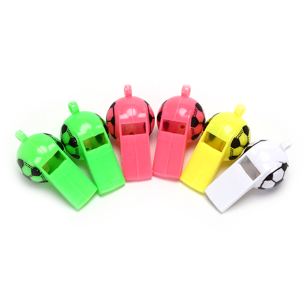 6pcs/lot Plastic Whistles Toys With Ropes Soccer Football Whistle Cheerleading Toys Survival Outdoor
