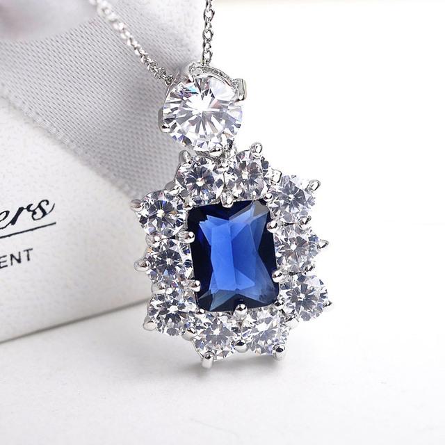 Luxo Quadrado Azul Áustria Cristais pingente Colares mulheres Jóia do casamento de Prata Banhado A cadeia colar gargantilha collier collares