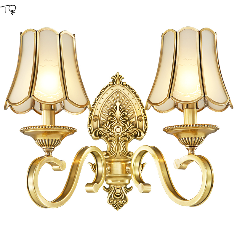 Jane European Wall Lights for Home Led Lustre Copper American Simple Living Room Background Bedside Stairway Corridor Luminaire|LED Indoor Wall Lamps| |  - title=