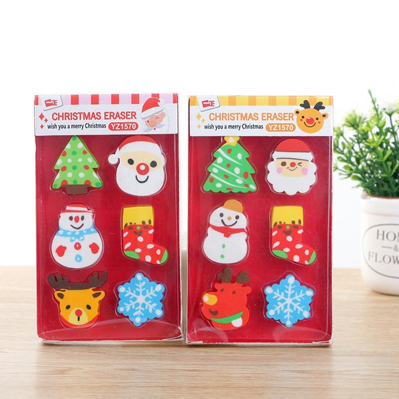Coloffice 1PC Cartoon Christmas Kawaii Snowman Colorful Shape Eraser For Kids Student Gift Novelty Item Office School Supplies
