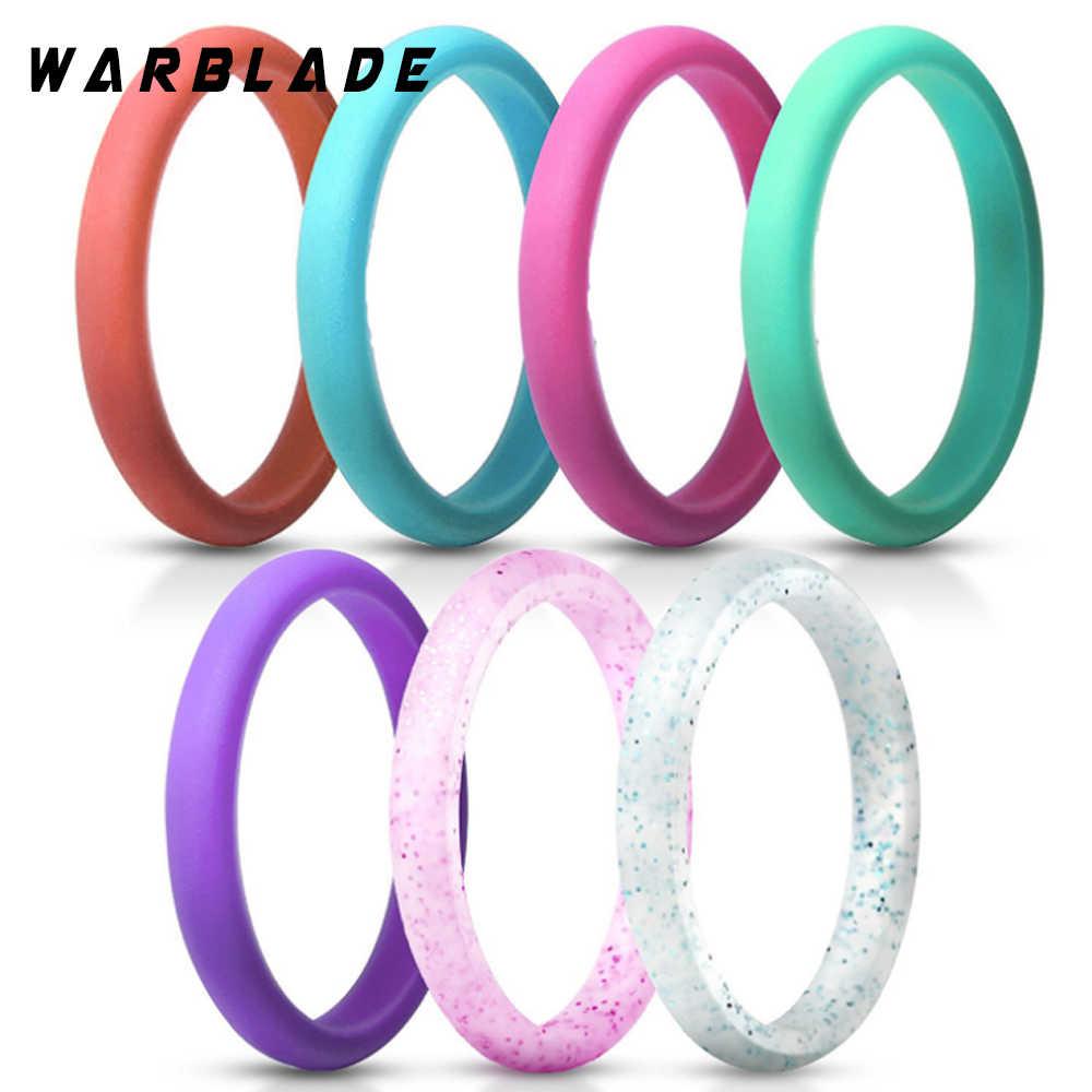 Anel de moda 2.7mm FDA Food Grade Silicone Hipoalergênico Crossfit Esportes Flexível de Silicone Anel de Dedo Para As Mulheres Anéis de Casamento