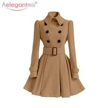 Aelegantmis, осенне-зимнее винтажное Женское шерстяное пальто, классический длинный плащ с поясом, Офисная Женская Повседневная Деловая верхняя одежда