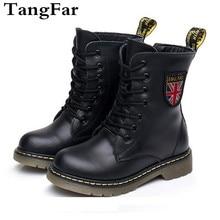女の子男の子アンクルブーツ春 2020 本革軍のブーツ黒ノンスリップ英国子供ブーツジッパーユニセックス靴