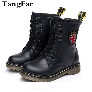 Image 1 - Girls Boys Ankle Boots Spring 2020 Genuine Leather Military Booties Black Non slip British Kids  Boots Zipper Unisex Shoe