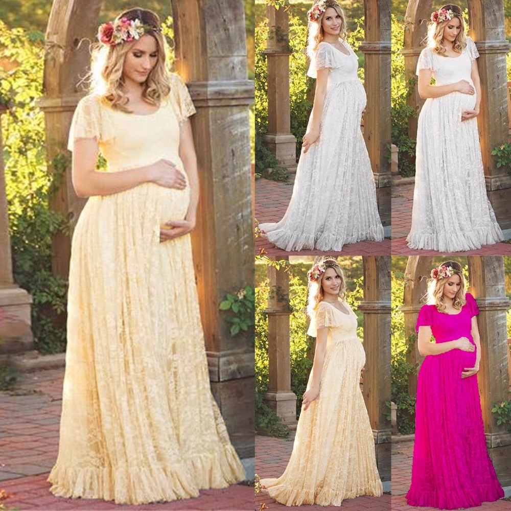 все цены на Puseky Maternity Dress Pregnant Women Lace Ruffle Hem Short Sleeve Maxi Dress Photography Prop Wedding Party Gown Pregnancy Wear онлайн