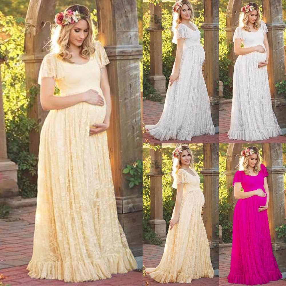 819dd8156f Puseky Maternity Dress Pregnant Women Lace Ruffle Hem Short Sleeve Maxi  Dress Photography Prop Wedding Party