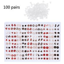 100 Pairs Assorted Styles Polymer Clay Hypoallergenic Stud Earrings Lot for Kids Jewelry Accessory W15