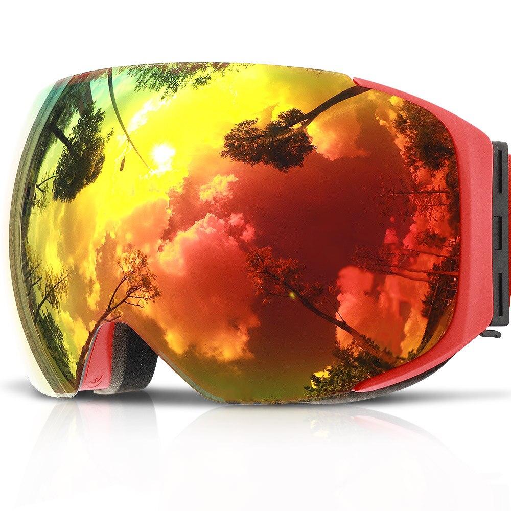 COPOZZ Magnétique Lunettes de Ski avec Interchangeables Jaune Lentille Anti-buée et UV400 Protection Snowboard Lunettes pour Adulte Hommes Femmes - 5