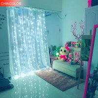 3*3m 300leds Holiday lights waterproof Curtain Led Light string AC Plug Xmas christmas wedding fairy Festival Room decoration DA