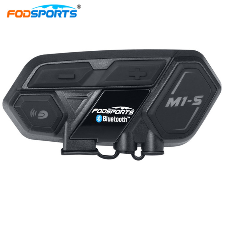 Fodsports M1 S Helmet Headset Motorbike Intercom Bluetooth interphone Motorcycle intercom for 8 riders Connect BT