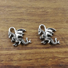 10 pcs dragão Encantos 21*14mm Tibetano Banhado A Prata Pingentes Antique Jewelry Making DIY Handmade Artesanato(China)