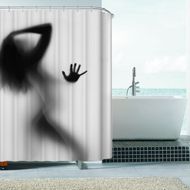 Fashion Creative Sexy Girl And Women Shadow Silhouette Bath Shower Curtain Waterproof Bathroom Home Decoration
