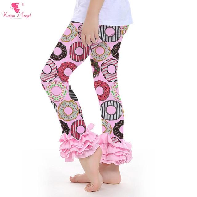 e1059b22f213d 2017 Ruffle Pants Wholesale Baby Boutique Clothing Girls Icing Pants Kids  Ruffle Pants Leggings Donut Pink Pants Leggings Girl