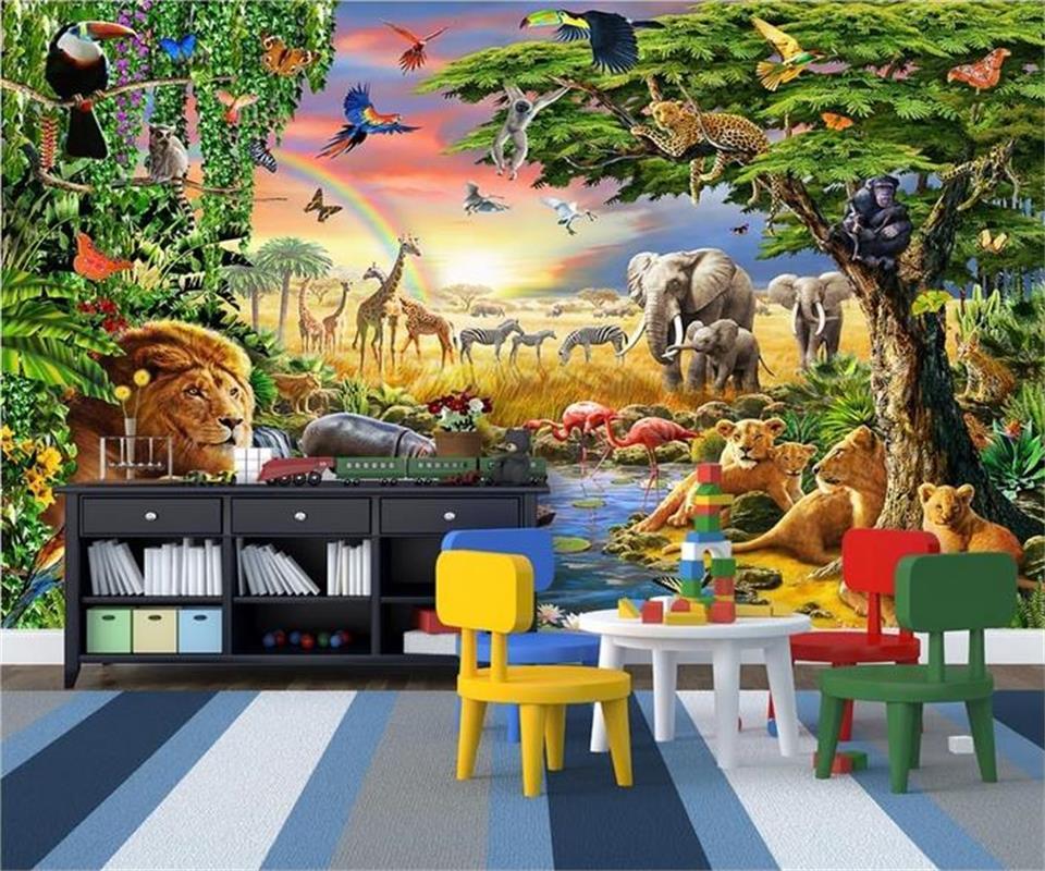 US $14.99 50% OFF Benutzerdefinierte 3d fototapete kinderzimmer wandbild  grünland tiere lions zebras malerei TV hintergrund vliestapete für wand  3d-in ...