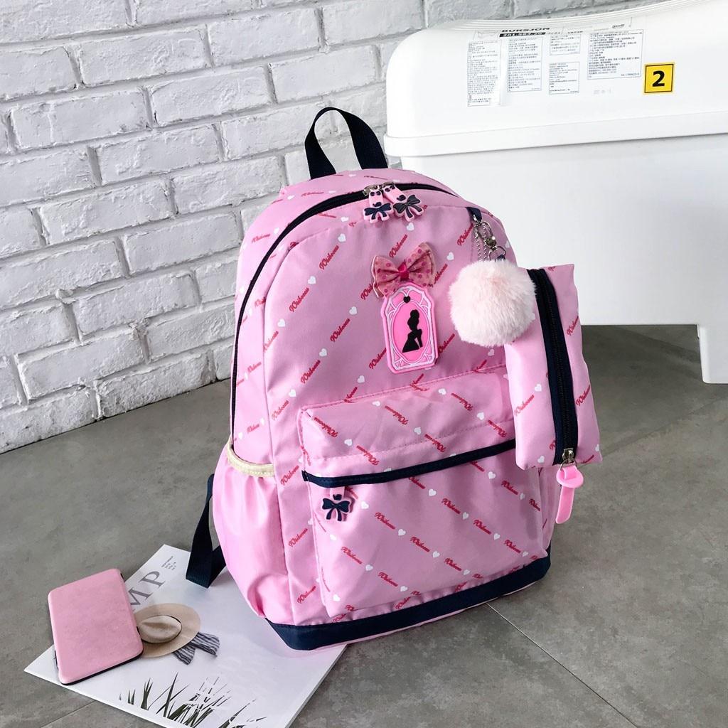 Women Bow Canvas Three-piece School Bag 21