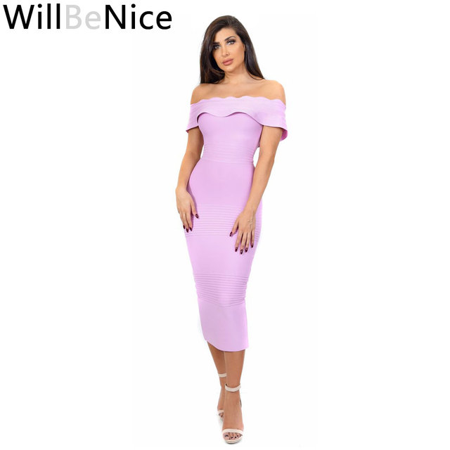 ce3696b4becb WillBeNice Light Purple 2018 New Fashion Sexy Women Laciness Off Shoulder  Bodycon Celebrity Midi Bandage Dress