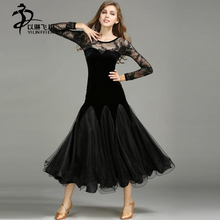Ballroom Dance Dresses For Women Black Color Lace Fabric Foxtrot/ Tango/ Waltz Dance Competition Dress Waltz Standard Costumes
