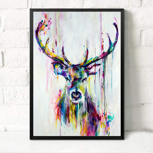Art Deer Oil Painting Merry Christmas Graffiti Colorful Elk Photo Retro Canvas For Kids Rooms