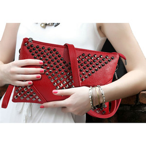 Image 2 - High Quality BLACK WOMEN LEATHER HANDBAGS Rivet stud crossbody bags female women messenger bags purses and handbags shoulder bag