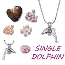 Single dolphin animal shape pearl Set High Quality Fashion plated sliver chain Pearl cage Pendant Surprise Jewelry Gifts PO3(China)