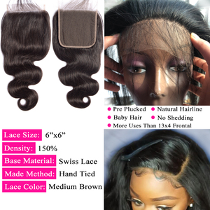 Image 3 - Queenlike Body Wave 6x6 Closure Pre Plucked With Baby Hair Natural Hairline Brazilian Remy Hair Big Lace Size Swiss Lace Closure