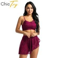 ChicTry trajes de baile lírico contemporáneo para mujer, gimnasia para adultos, Ballet, Top corto, falda de tutú asimétrica, conjunto de Ropa de baile