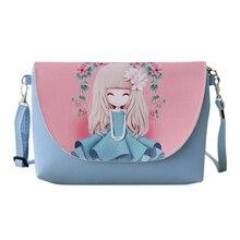 2017 Nouveau Dessin Animé impression Femmes sac Femelle en cuir PU Mini Bandoulière sacs à Bandoulière Filles Messenger sac bolsa feminina S-350