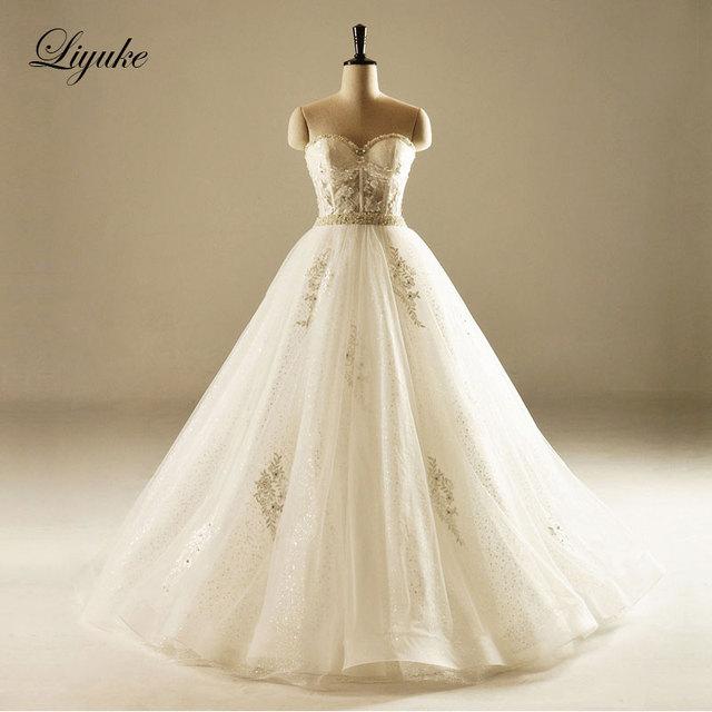 Glamorous Tüll Ballkleid Brautkleid Trägerlosen Ausschnitt Perlen ...